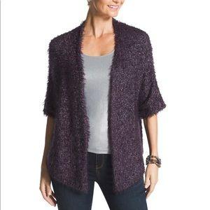 Chico's Peggy Cozy Shine Shrug Purple Size 3